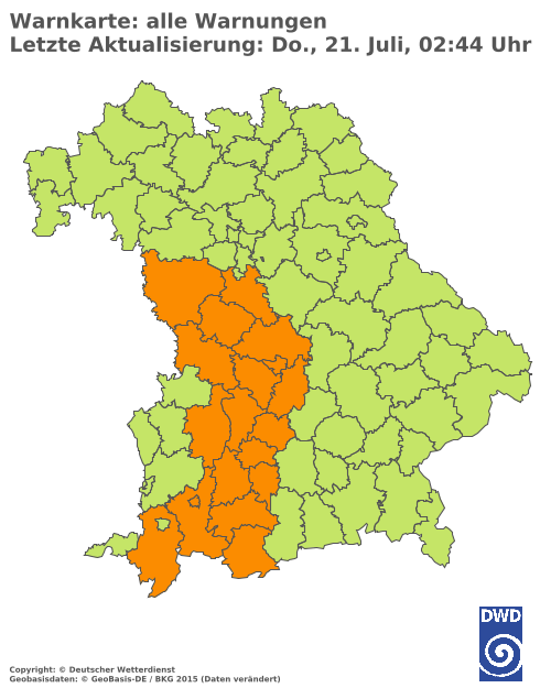 Aktuelle Wetterwarnungen für Günzburg